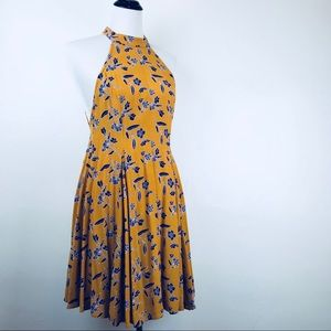 UO Kimchi Blue - Mustard & Purple Open Back Dress